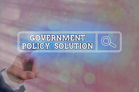 Writing note showing Government Policy Solution. Business concept for designed game plan created in response to emergency disaster Web search digital information futuristic technology network connection