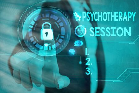 Conceptual hand writing showing Psychotherapy Session. Concept meaning series of meetings in treating mental health problems Graphics padlock for web data security application system
