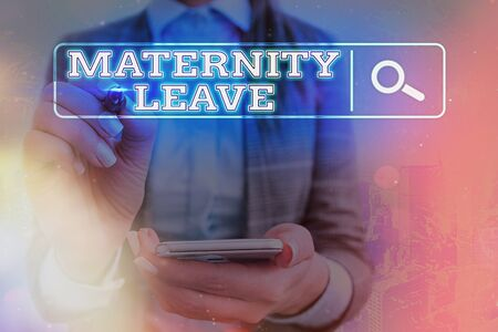 Word writing text Maternity Leave. Business photo showcasing a leave of absence for an expectant or a new mother Web search digital information futuristic technology network connection