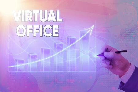 Handwriting text writing Virtual Office. Conceptual photo operational domain of any business or organization virtually Arrow symbol going upward denoting points showing significant achievement