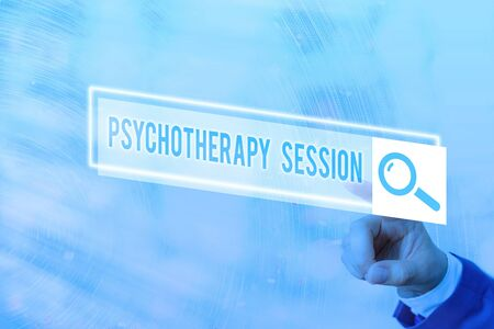 Conceptual hand writing showing Psychotherapy Session. Concept meaning series of meetings in treating mental health problems Web search digital futuristic technology network connection