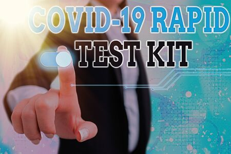 Conceptual hand writing showing Rapid Test Kit. Concept meaning Emergency medical diagnostic equipment that deliver fast results Graphics padlock for web data security application system Standard-Bild