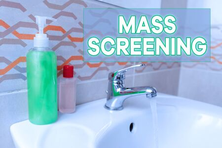 Text sign showing Mass Screening. Business photo text health evaluation performed at a large amount of population Handwashing procedures for decontamination and minimizing bacterial growth 스톡 콘텐츠