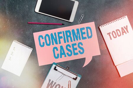 Word writing text Confirmed Cases. Business photo showcasing set of circumstances or conditions requiring action Paper accesories with digital smartphone arranged on different background