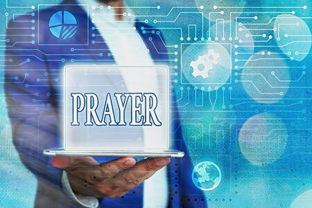 Text sign showing Prayer. Business photo showcasing solemn request for help or expression of thanks addressed to God System administrator control, gear configuration settings tools concept