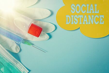 Handwriting text Social Distance. Conceptual photo degree of acceptance of general interaction of individuals Primary medical precautionary equipments for health care protection