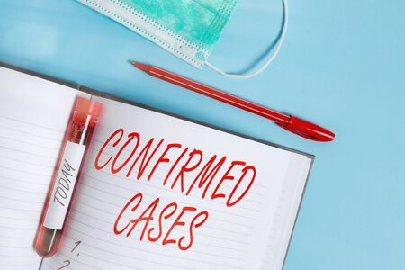 Word writing text Confirmed Cases. Business photo showcasing set of circumstances or conditions requiring action Extracted blood sample vial with medical accessories ready for examination
