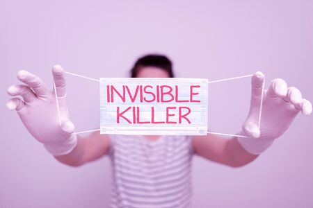 Text sign showing Invisible Killer. Business photo text presence into the air of a substance which are harmful Promoting health awareness with set of medical precautionary equipment