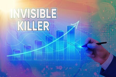Handwriting text writing Invisible Killer. Conceptual photo presence into the air of a substance which are harmful Arrow symbol going upward denoting points showing significant achievement Stock Photo