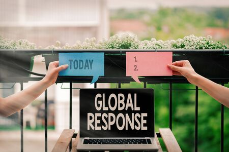 Conceptual hand writing showing Global Response. Concept meaning indicates the behaviour of material away from impact point Empty bubble chat sticker mock up emphasizing personal idea