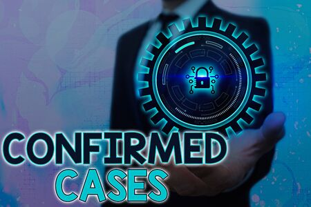 Writing note showing Confirmed Cases. Business concept for set of circumstances or conditions requiring action Graphics padlock for web data information security application system