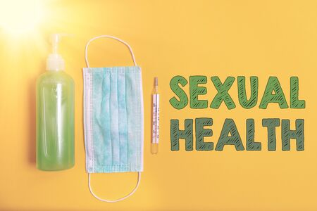 Conceptual hand writing showing Sexual Health. Concept meaning Ability to embrace and enjoy sexuality throughout our lives Primary medical precautionary equipments health protection