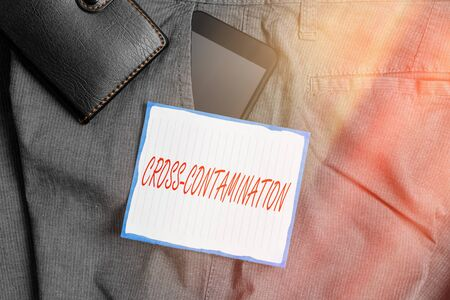 Text sign showing Cross Contamination. Business photo showcasing Unintentional transmission of bacteria from one substance to another Smartphone device inside trousers front pocket with wallet and note paper