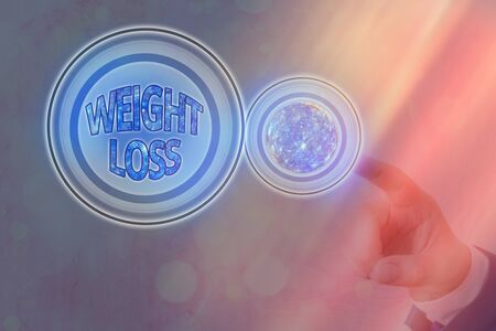 Text sign showing Weight Loss. Business photo showcasing a reduction of the total body mass due to a mean loss of fluid Futuristic icons solar system.