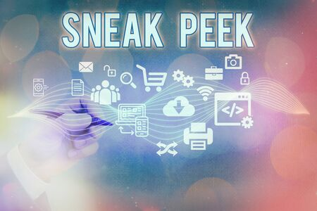 Text sign showing Sneak Peek. Business photo text to see before officially presented or released to the public Information digital technology network connection infographic elements icon
