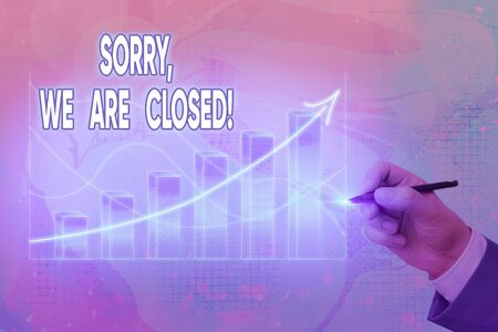 Handwriting text writing Sorry, We Are Closed. Conceptual photo apologize for shutting off business for specific time Arrow symbol going upward denoting points showing significant achievement 版權商用圖片