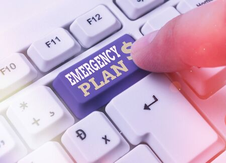 Writing note showing Emergency Plan. Business concept for instructions that outlines what workers should do in danger White pc keyboard with empty note paper above white key copy space