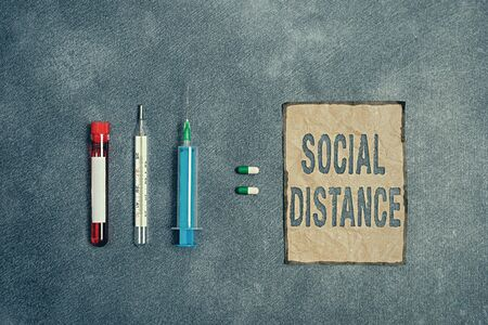 Writing note showing Social Distance. Business concept for degree of acceptance of general interaction of individuals Blood sample vial medical accessories ready for examination