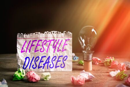 Word writing text Lifestyle Diseases. Business photo showcasing a disease associated with the way an individual lives Realistic colored vintage light bulbs, idea sign solution thinking concept