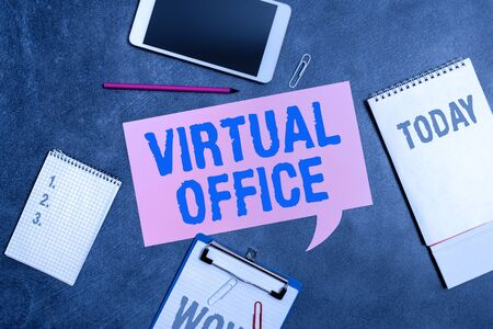 Word writing text Virtual Office. Business photo showcasing operational domain of any business or organization virtually Paper accesories with digital smartphone arranged on different background