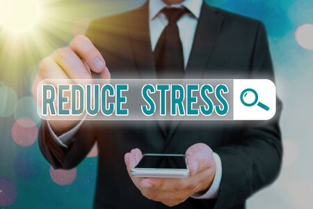 Word writing text Reduce Stress. Business photo showcasing to lessen the state of mental or emotional strain or tension Web search digital information futuristic technology network connection Zdjęcie Seryjne