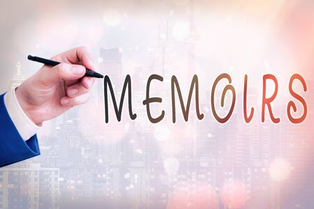 Conceptual hand writing showing Memoirs. Concept meaning collection of memories that individual writes about moments or event Touch screen digital marking important details in business