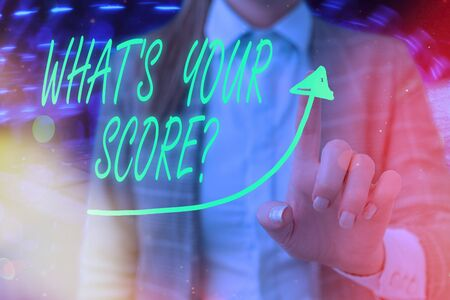 Text sign showing What S Your Score Question. Business photo text Tell Personal Individual Rating Average Results Statistics digital arrowhead curve rising upward denoting growth development concept