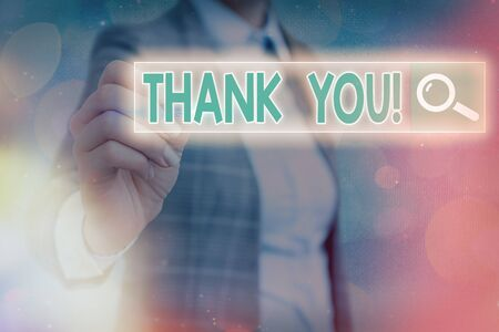 Writing note showing Thank You. Business concept for polite expression to acknowledge a gift, service or compliment Web search digital information futuristic technology network connection 版權商用圖片