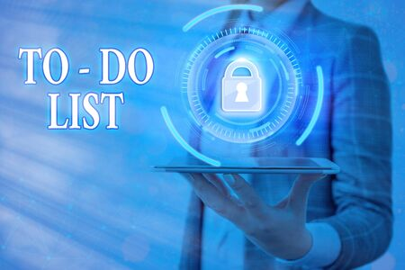 Text sign showing To do List. Business photo text a list of tasks to complete and organize according to priority Graphics padlock for web data information security application system