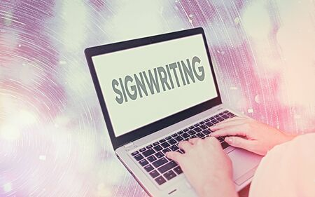Handwriting text writing Signwriting. Conceptual photo any type of clear lettering intended for use on symbols Modern gadgets with white display screen under colorful bokeh background