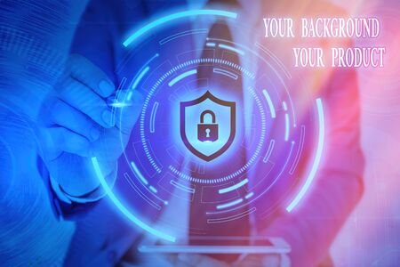 Writing note showing Your Background Your Product. Business concept for knowledge experiences discover business chances Graphics padlock for web data information security application system Archivio Fotografico