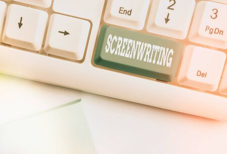 Conceptual hand writing showing Screenwriting. Concept meaning the art and craft of writing scripts for media communication White pc keyboard with empty note paper above white key copy space