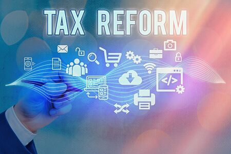 Text sign showing Tax Reform. Business photo text government policy about the collection of taxes with business owners Information digital technology network connection infographic elements icon
