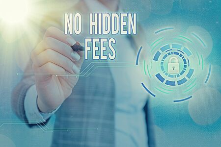 Writing note showing No Hidden Fees. Business concept for without or zero bank charge, service charge, or extras Graphics padlock for web data information security application system