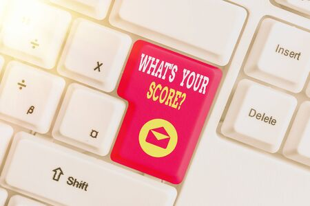 Word writing text What S Your Score Question. Business photo showcasing Tell Personal Individual Rating Average Results Statistics White pc keyboard with empty note paper above white key copy space