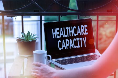 Text sign showing Healthcare Capacity. Business photo text maximum amount of patients provided with the right medical service Personal workplace overview with laptop device used for individual interest
