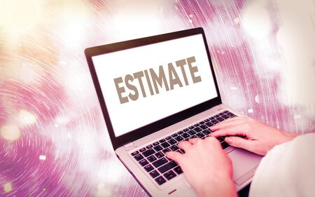 Handwriting text writing Estimate. Conceptual photo calculate or assess approximately the value number quantity Modern gadgets with white display screen under colorful bokeh background