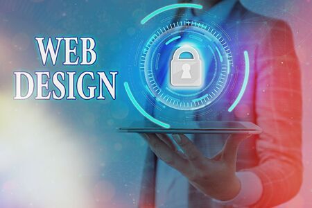 Text sign showing Web Design. Business photo text website creation which includes layout, content, and graphics Graphics padlock for web data information security application system 免版税图像