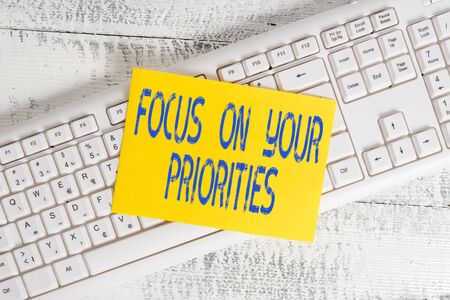 Handwriting text Focus On Your Priorities. Conceptual photo remove distractions Have a life plan Be a fortress White keyboard office supplies empty rectangle shaped paper reminder wood