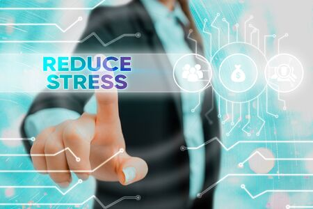 Writing note showing Reduce Stress. Business concept for to lessen the state of mental or emotional strain or tension System administrator control, gear configuration settings tools concept