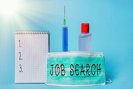Conceptual hand writing showing Job Search. Concept meaning an act of sourcing for job openings and apply for a position Set of medical equipment with notepad for health assessment Standard-Bild