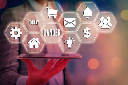 Word writing text Danger. Business photo showcasing general word for liability to all kind of injury or evil consequences Grids and different set up of the icons latest digital technology concept