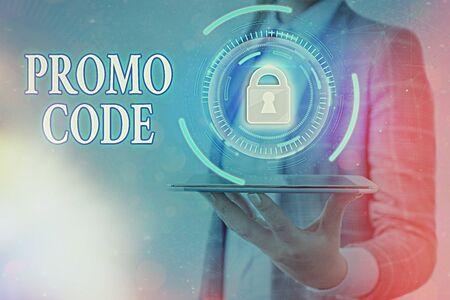 Text sign showing Promo Code. Business photo text letters or numbers that allows getting a discount on something Graphics padlock for web data information security application system