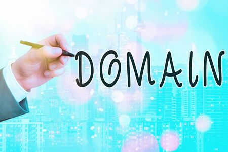 Conceptual hand writing showing Domain. Concept meaning identification string that defines a realm of administrative autonomy Touch screen digital marking important details in business Archivio Fotografico