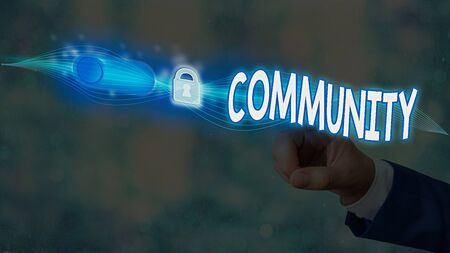 Text sign showing Community. Business photo showcasing group of showing living in one place having a characteristic in common Graphics padlock for web data information security application system