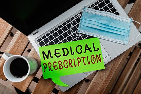 Word writing text Medical Prescription. Business photo showcasing healthcare program implemented by a physician Set of medical equipment with notepad for health condition assessment