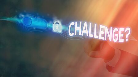 Text sign showing Challenge Question. Business photo showcasing Invitation to engage in a race in particular duel Graphics padlock for web data information security application system Stock Photo