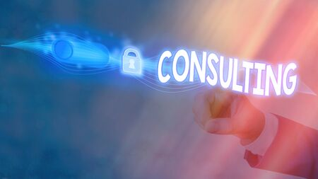 Text sign showing Consulting. Business photo showcasing engaged in giving expert advice to experts or technicians Graphics padlock for web data information security application system