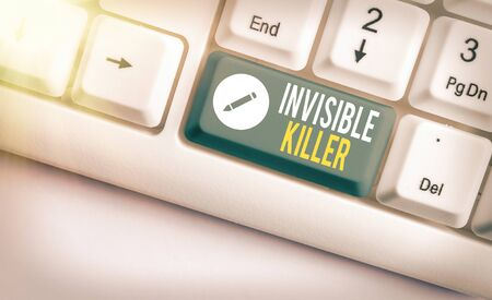 Word writing text Invisible Killer. Business photo showcasing presence into the air of a substance which are harmful White pc keyboard with empty note paper above white key copy space