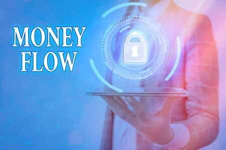 Text sign showing Money Flow. Business photo text it is an indicator of positive or negative in a current day Graphics padlock for web data information security application system